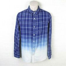 Pacsun Mens Plaid Long Sleeve Button Down Shirt Size Small Blue Fades to White