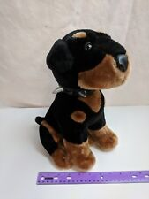 "Toy Network Doberman Pinscher 13"" Rottweiler Rotty Dog Plush Spiked Collar"