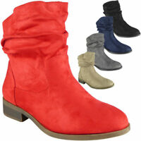 Ladies Ankle Pull On Rouched Faux Suede Boots Casual Winter Shoes Size