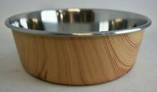 OUR PETS DURAPET Large Light Wood Stainless Steel Pet Bowl