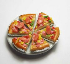 6 Dollhouse Miniature Pizza Slices on Ceramic Plate * Doll Mini Food Dish