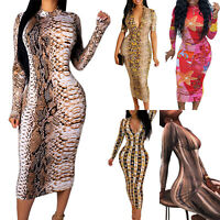 Womens V Neck Bodycon Stretch Printed Cocktail Ladies Party Pencil Midi Dress US