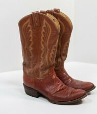 Vintage Tony Lama Brown Leather Cowboy Boots Size 8.5