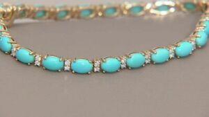 "18K Yellow Gold Over Sleeping Beauty Turquoise & Diamond Tennis  7.25"" Bracelet"