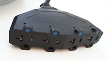 10' 12 Gauge Black Extension Cord with 4 15/20 AMP Outlets