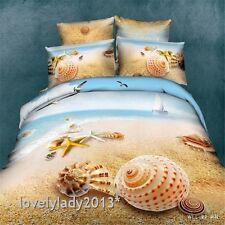 Romantic Beach Queen Size Bed Quilt/Doona/Duvet Cover Set 4PCS 100% Cotton 4PCS
