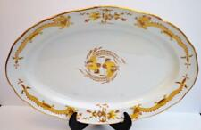 """Antique MEISSEN Crossed Sword Mark Yellow DRAGON Red Accents 19"""" Oval Platter"""