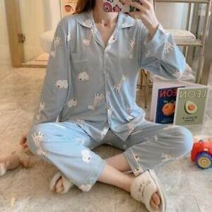 Ladies Women Pyjamas Set Long Sleeve Night wear Lounge Wear Pajamas Pjs Sleep D9