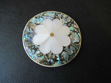 Pin/Brooch Round Daisy/Flower Abalone Shell Mother of Pearl MOP Alpaca