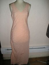 "Vintage 30s Embroidered BIAS SILK NIGHTGOWN  GOWN Sz  M 40"" bust FLAW AS IS"