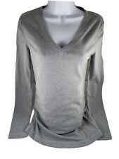 NWOT! Gap Maternity Solid Gray V-Neck Pullover Shirt Top Long Sleeve Soft Small