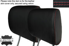 Rojo Costura 2x Frontal reposacabezas de cuero Skin Tapa se ajusta Nissan 350z 2002-2009