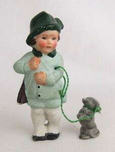 """Antique Germany Mini Hand Painted Bisque Boy Walking Dachshund Dog 3"""" Doll"""
