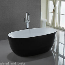 Bathroom Acrylic Free Standing Black Bath Tub 1500 x 750 x 580 - FREESTANDING
