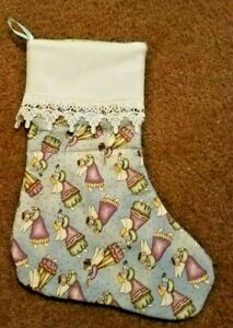Whimsical Trumpeting Angels Christmas Stocking Felt and Lace