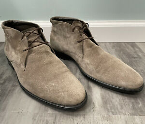 Tods Italy Chukka Ankle Boot Grey Suede 9.5 UK US 10.5 Leather Lined Rubber Sole