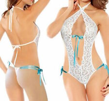Ladies Sexy Lingerie White Lace & Blue Ribbon Babydoll Teddy Body Free Size 8-12