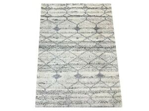 2X3 Ivory Modern Moroccan Hand-Knotted Wool Area Rug Small Oriental Carpet