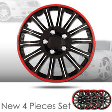 15 Inch 14 Spikes Black Hubcaps Cover with Red Rim Brand New Set of 4 Pieces 527