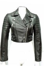 Missy Ladies Women's Black Short Cropped Biker Gothic Punk Nappa Leather Jacket