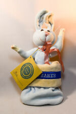 """Boyds Bears: Bud - Blue Plush Bunny - In Stocking """"Boyds Hares"""" 7 Inches"""