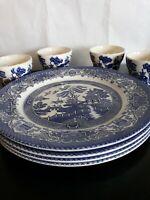 8 English Ironstone Tableware Blue Willow - 4 Dinner Plates 4 Teacups England