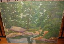 "30"" Vintage oil canvas painting landscape artist Schlaff"