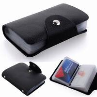 12/24 Slots Black Practical Useful ID Credit Card Case Pocket Wallet Holder Bag