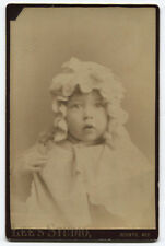 CABINET CARD YOUNG CHILD WITH SILLY KNITTED HAT. OCONTO, WISCONSIN.