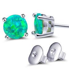 Hotsale Rainbow Fire Mystic Green Opal Round Shape Gem Silver Stud Women Earring