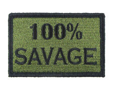 100% Savage Green and Black Tactical Hook & Loop Embroidered Morale Tags