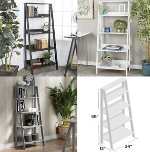 Imogen Ladder Bookcase Cube Storage Rack Shelf Wooden Library
