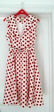 Lindy Bop 'Matilda' 1950s Shirt Dress White with Red Polka Dots Matching Belt 10