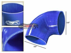 """3.5"""" Silicone Hose/Intake/Intercooler Pipe Elbow Coupler BLUE For Daewoo"""