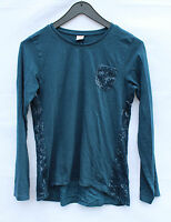 S.OLIVER Damen Langarm Shirt Größe L 164 100% Baumwolle Pailletten Blau