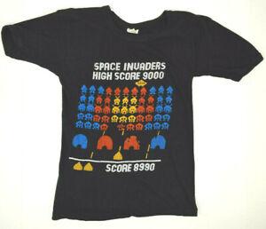Vintage Space Invaders Ringer T-Shirt XS/S Single Stitch 80s Kurt Cobain Grunge