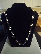 Ivory Colored Stone - 22 Inch Necklace Vintage 14K Gold Filled- Black Onyx And