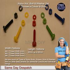 Nylon Bolts, Nylon Nuts & Nylon Washers 3pc Set Slotted Pan Head Screws