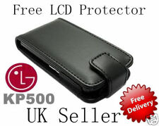 @Black PU Leather Case For LG KP500@Free LCD Protector@