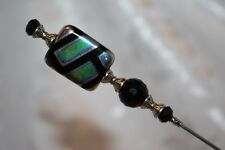 "}{ HATPIN }{  7"" LONG CARNIVAL BLACK GLASS NEW HATPIN SCARF VICTORIAN HP2954"