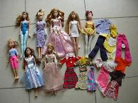 Lotto 8 Barbie e principesse mattel moderne originali + abiti tutto ottimo