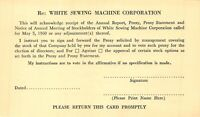 WHITE SEWING MACHINE COMPANY~ANNUAL MEETING OF STOCKHOLDERS 1960 POSTCARD