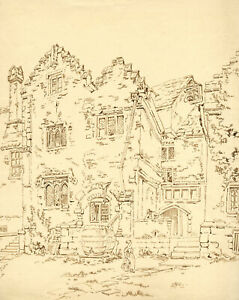 Alexander Monro, Kitchen Entrance, Holme Lacy House, Heref – 1836 ink drawing