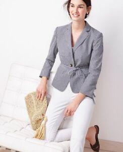 Ann Taylor - Petite 0P (XSP) Blue Seersucker Side Tie Blazer Jacket $159 NWT (H)