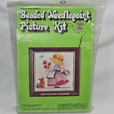 New Beaded Needlepoint Picture Kit 1504 Picking Flowers Vintage 1976 Walco