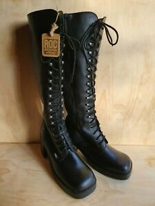 Leather Boots Womens Size 41, AUS Size 9, Black High Chuncky Lace Up Boots, ROC