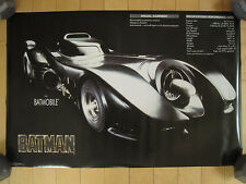 NOS!! 1989 vtg BATMAN batmobile POSTER michael keaton 80s MOVIE promo DC COMICS