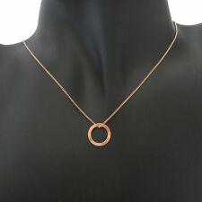 Collier minimaliste cercle en argent 925 plaqué or rose 18 carats C028-R