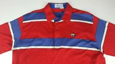 Vintage Pickering Large L Blue White Red Golf Polo Shirt Color Block Outdoor X3