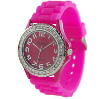 Fashion Silicone Gel Ceramic Style Band Crystal Bezel Women's Watch Ornate